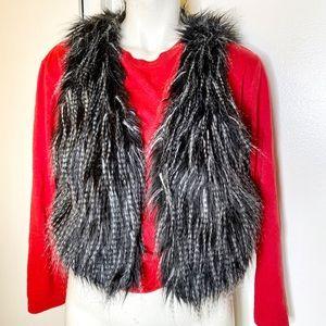 Cecico Black n Grey Faux Fur Vest S